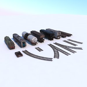 3D abandoned train pack