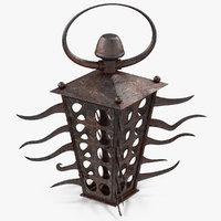 3D rusty candle lantern