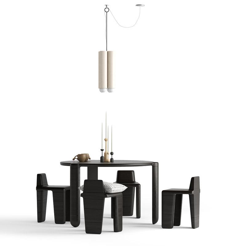 3D radnor bone dining set model