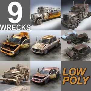 3d model of derelict wreck cars