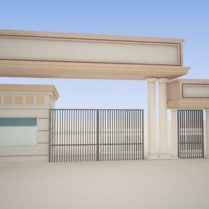 school gate exterior 3D model