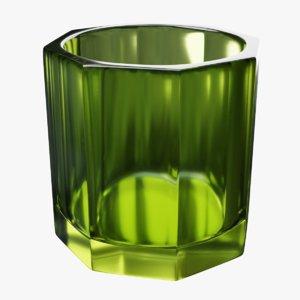 3D green glass irish whiskey