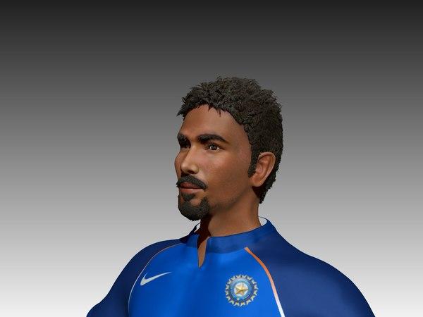 cricket athlete batsman 3D