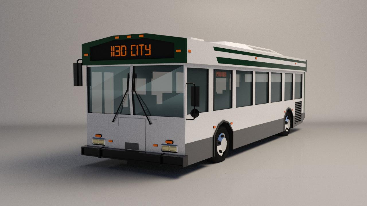 Low-Poly Cartoon City Bus