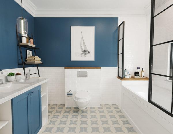 realistic retro bathroom interior model