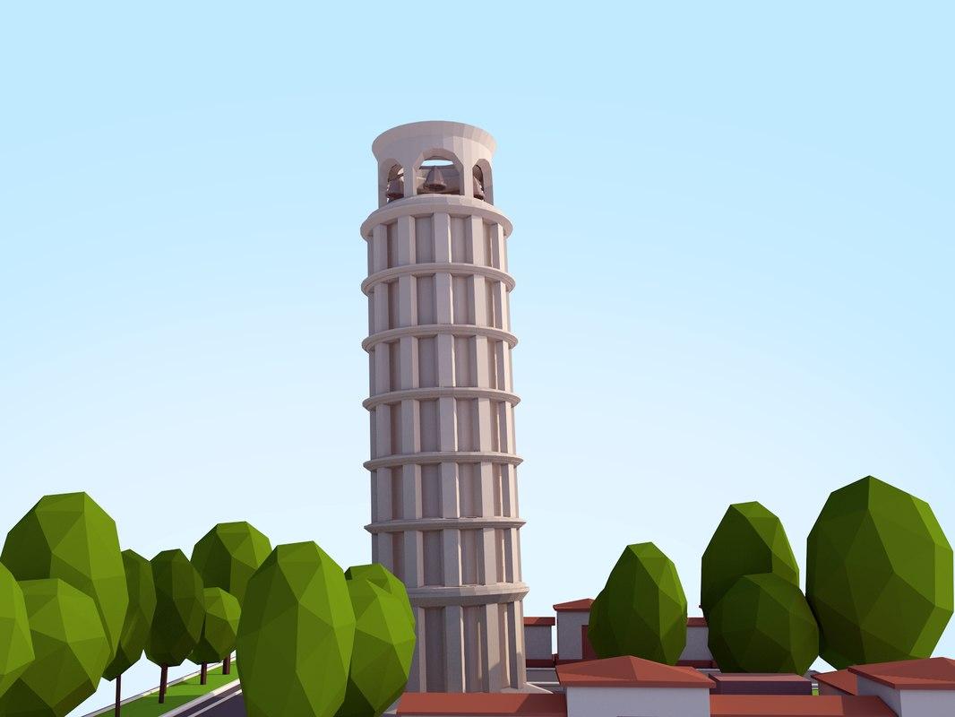 3D cartoon pisa tower model