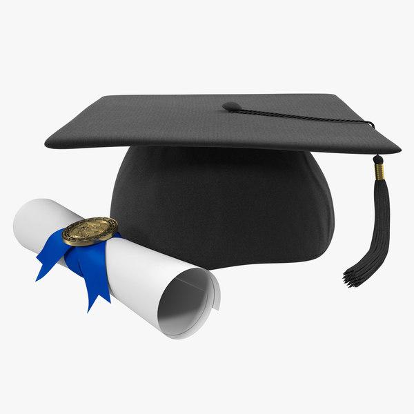 3D graduation cap degree scroll model