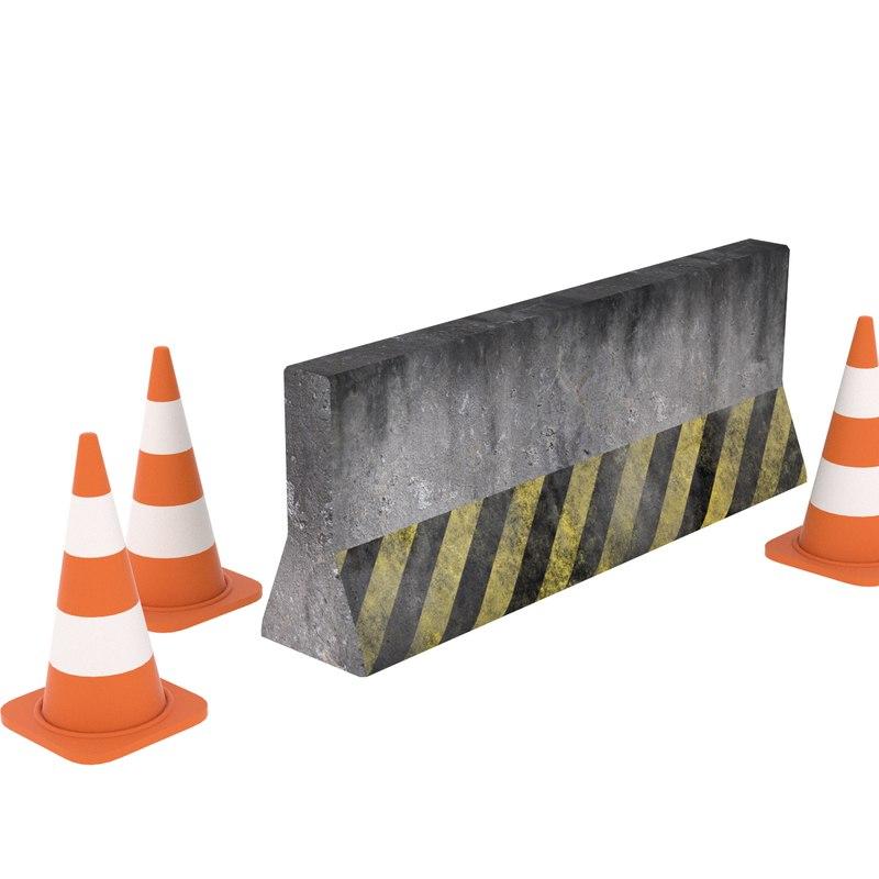 3D model concrete barrier cones