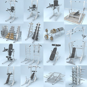 3D gym equipment kit model