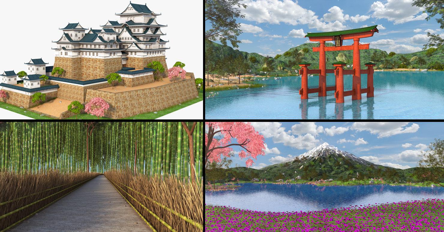 japan bamboo castle 3D model