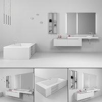 3D bathroom furniture set gold