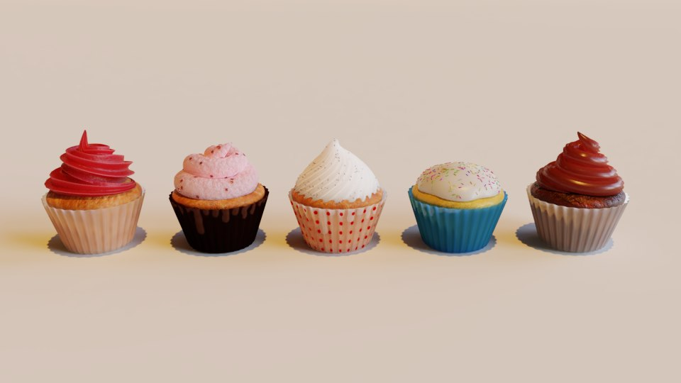 3D cupcakes model