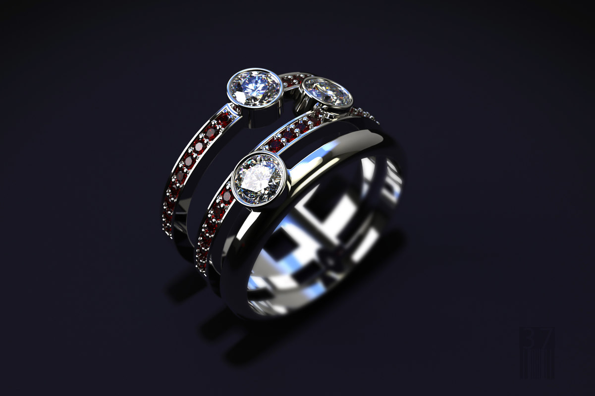 3D ring precious stones model