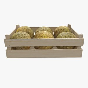 3D melon wooden crate 02 model