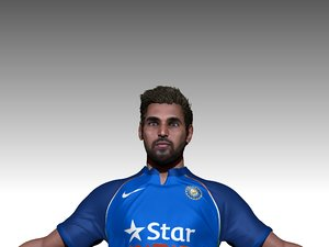 3D cricket athlete batsman model