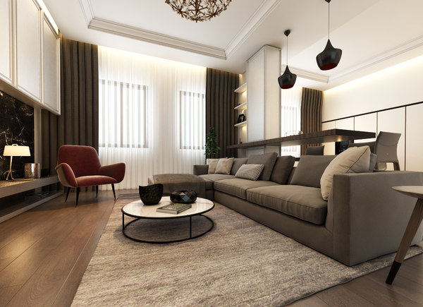 3D living room interior scene