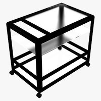 metalic glass service cart model