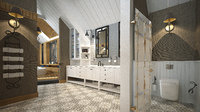 luxurious bathroom sauna interior 3D model