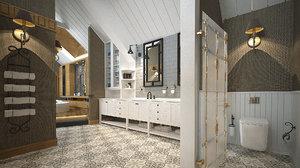 luxurious bathroom sauna interior 3D model