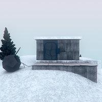 cabin trees platonic 3D model