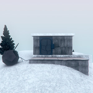 cabin trees platonic 3D model