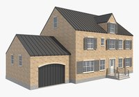 3D modern brick house