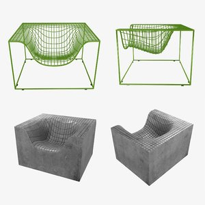 grid armchair concrete things 3D model