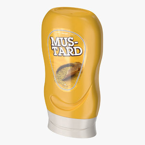 3D plastic mustard bottle