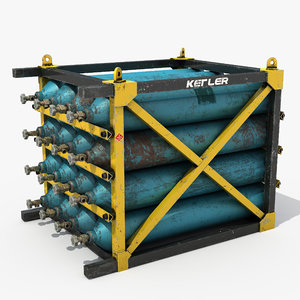 3D rack pressure cylinders model