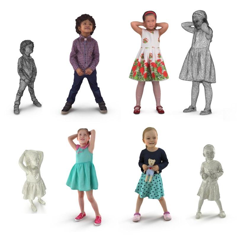 3D child scanned people model