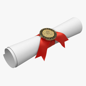 3D model degree scroll red ribbon