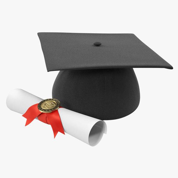 degree scroll graduation cap 3D model