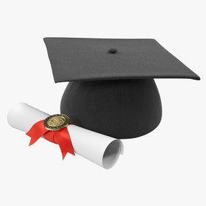 degree scroll graduation cap 3D model
