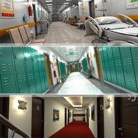 3D model hallway hospital school