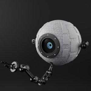 3D repair sci-fi space robot model