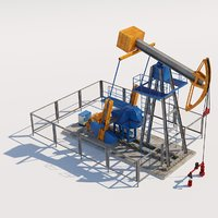 3D oil pumpjack derrick pump machine