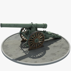 world war cannon 3D model