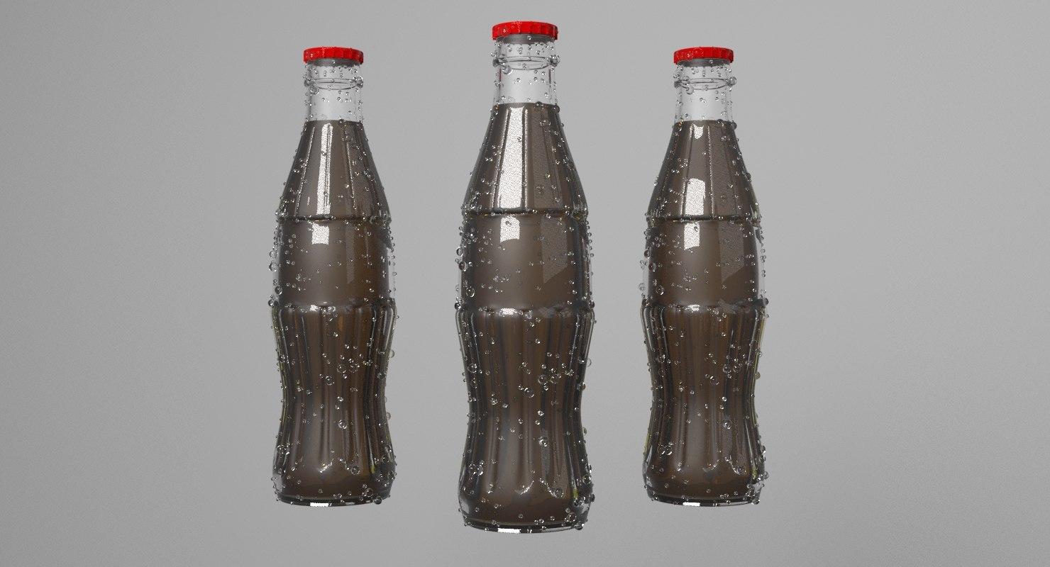 3D cola glass bottle model