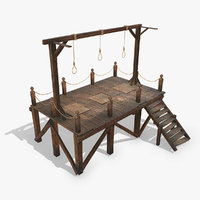 3D medieval gallows pbr