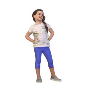 3D little girl standing