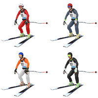 3D pack rigged skier ski