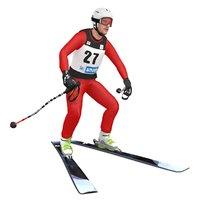 3D rigged skier ski