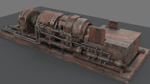 3D machinery rusted device industrial model