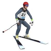 rigged skier ski 3D model