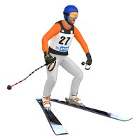 rigged skier ski model