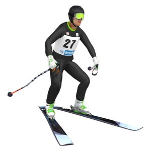 3D rigged skier ski model