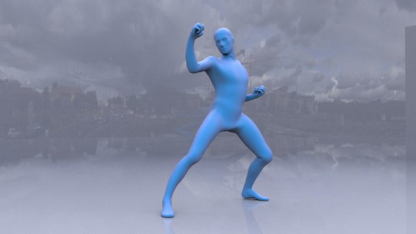man blue posing 3D model