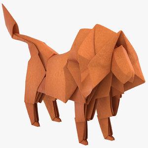 lion origami 3D model