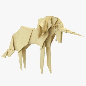 unicorn origami 3D