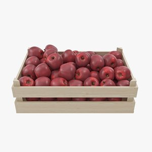 apple red wooden crate model